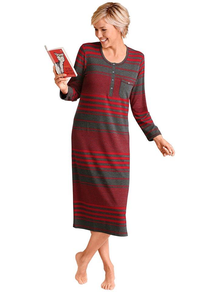 Nachtkleid in grau-rot-geringelt