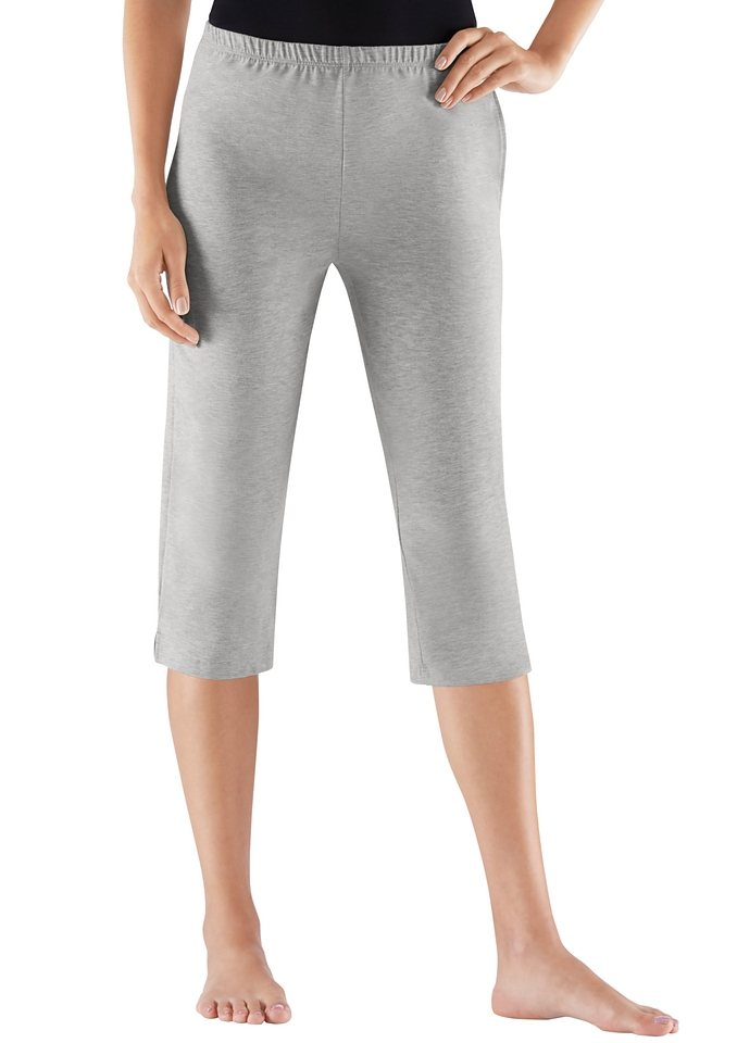 Rosalie Capri-Hosen aus weichem Single-Jersey (2 Stck.) in schwarz + grau-meliert