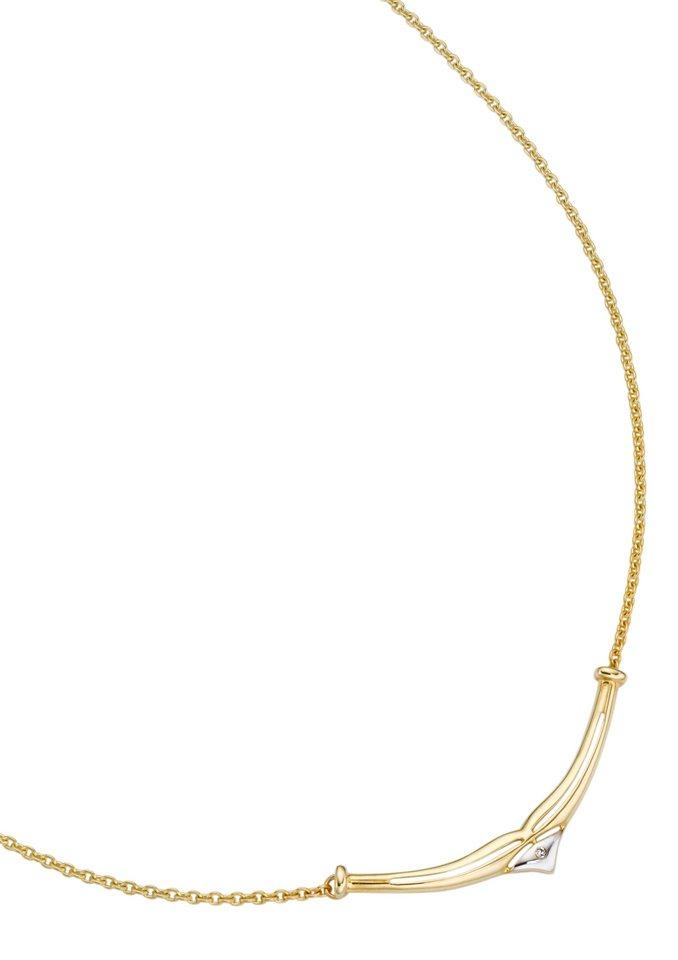 """Vivance Jewels Halsschmuck: Halskette """"basic"""" mit Diamant in goldfarben"""