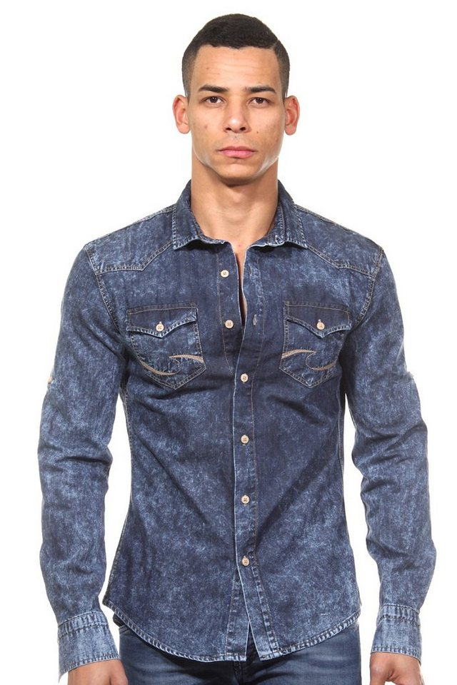 CATCH Langarmhemd slim fit in blau