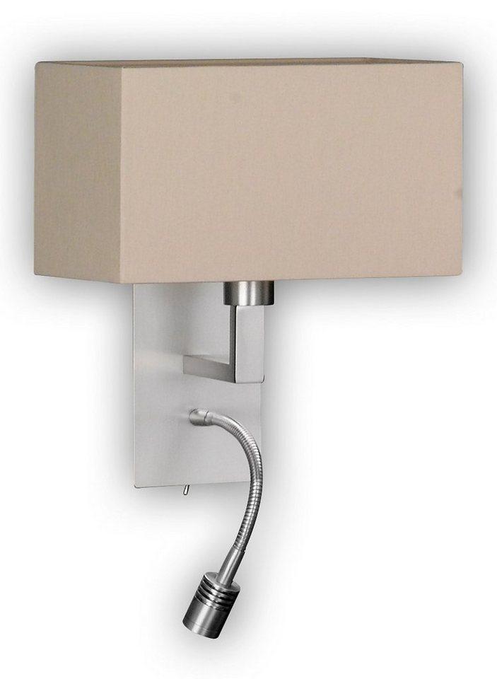 Honsel Leuchten LED-Wandleuchte, 2flg., »CASTA« in nickelfarben matt, Schirm Melangeoptik