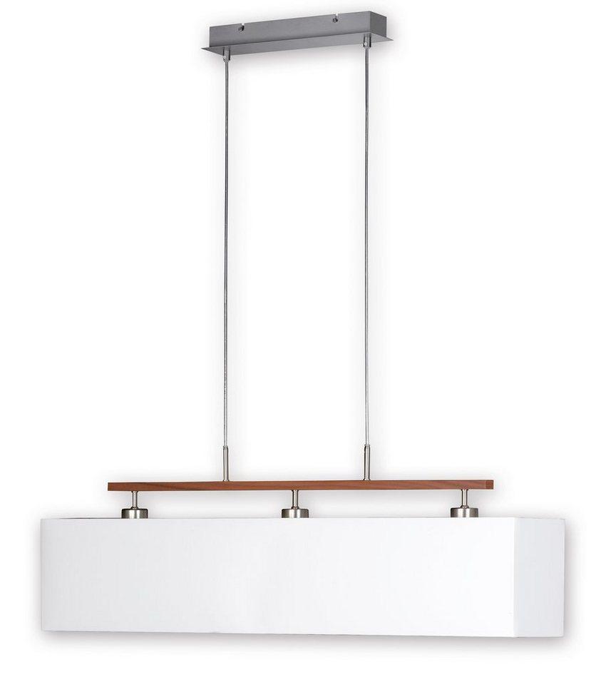 Honsel Leuchten Pendelleuchte, 3flg., »CASTA« in nickelmatt, mit Holzleiste noce, Stoffschirm weiß