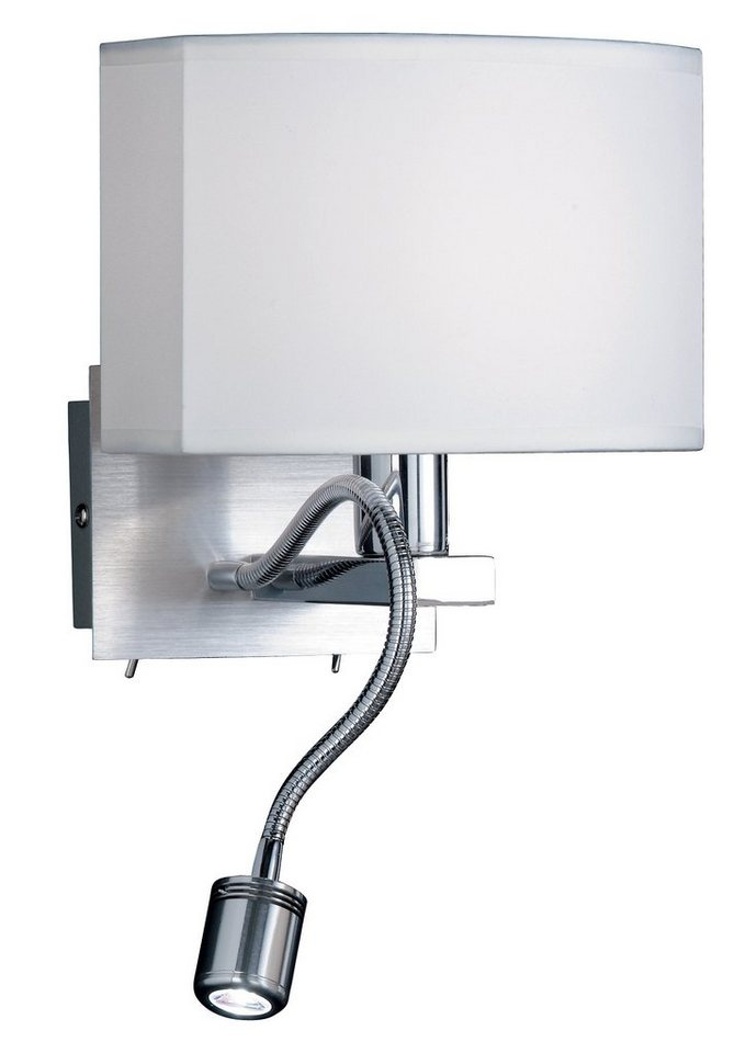 Honsel Leuchten LED-Wandleuchte, 2flg., »LAON« in chrom /aluminiumfarbig,  Schirm weiß