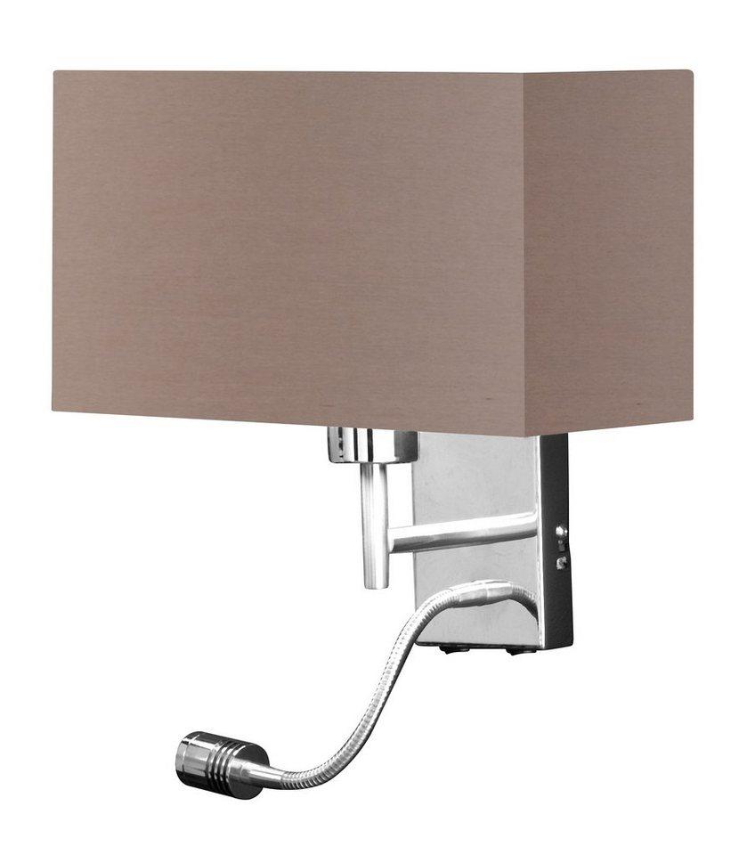 Honsel Leuchten LED-Wandleuchte, 2flg., »KEMPTEN« in Metallteile nickel  chromfarben matt,  Schirm cappuccino