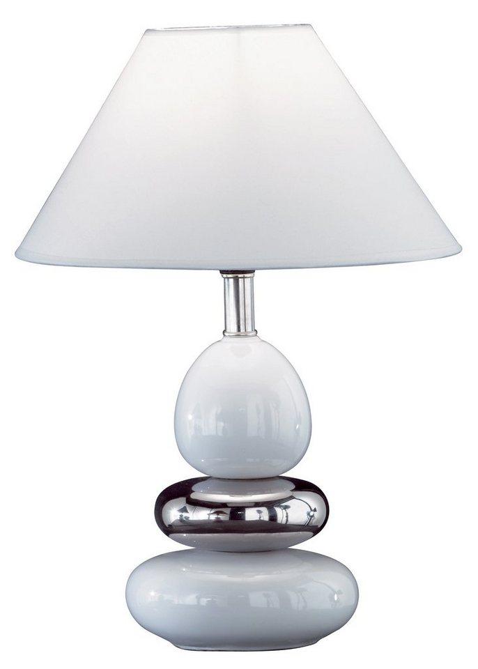 Honsel Leuchten Tischleuchte, 1flg., »BALON« in Keramiksockel weiß/chrom glänzend mit weißem Stoffschirm