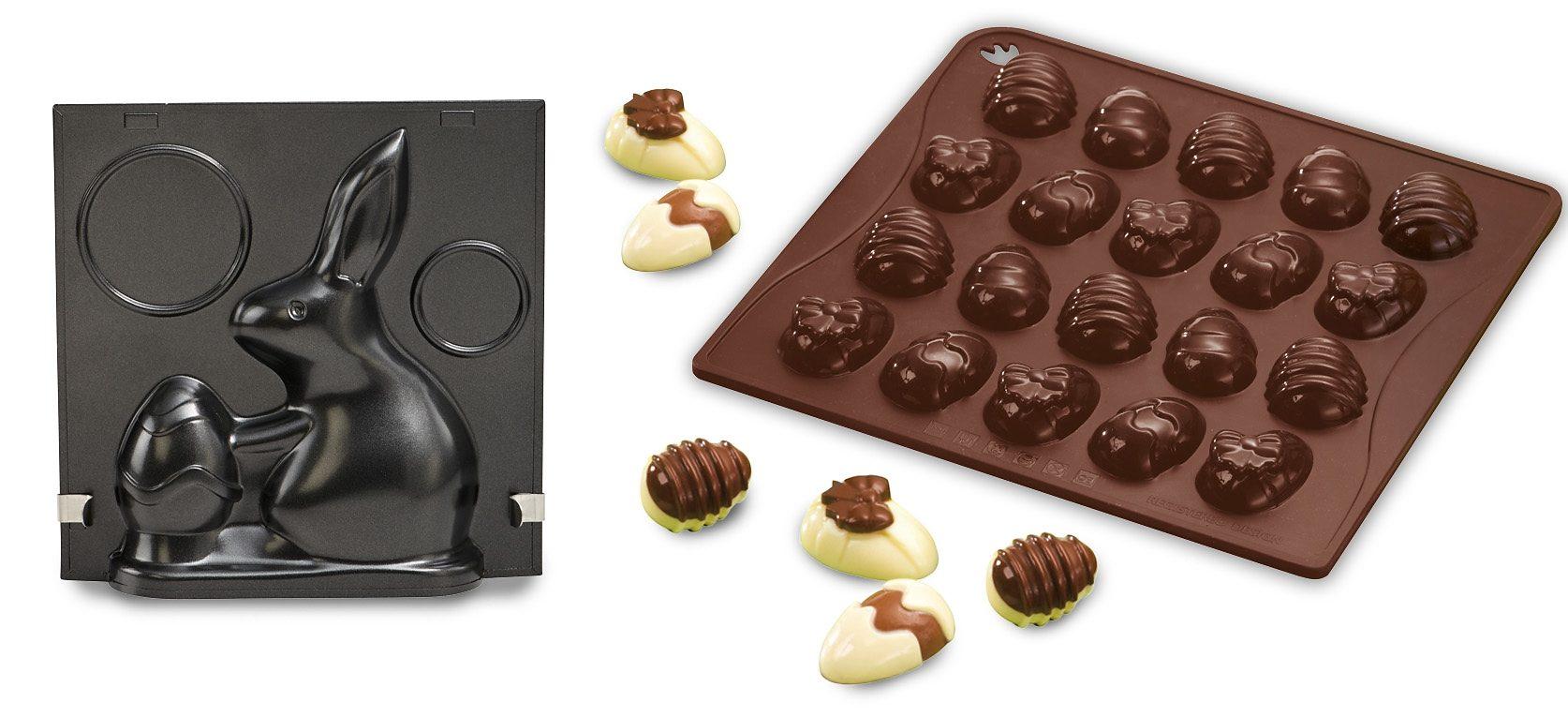 Dr. Oetker Vollbackform »Hugo Hase« + Confiserie Silikon-Schokoladenform »Ostereier«