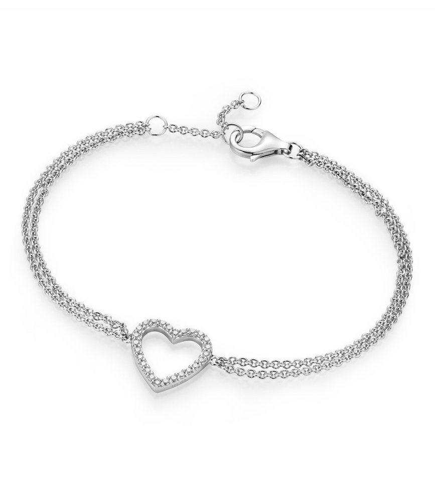 GIORGIO MARTELLO MILANO Armband mit Zirkonia, »Herz« in Silber 925