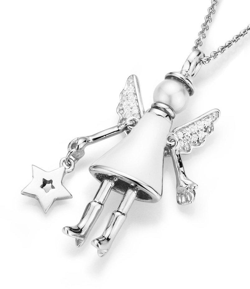 GIORGIO MARTELLO MILANO Kette mit Anhänger mit Zirkonia und Muschelkernperle, »Engel mit Stern« in Silber 925/weiß