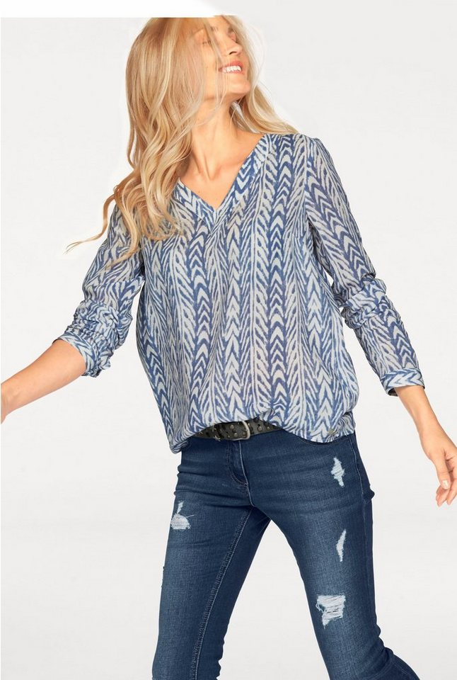 s.Oliver RED LABEL Longbluse Allover bedruckt in wollweiß-blau