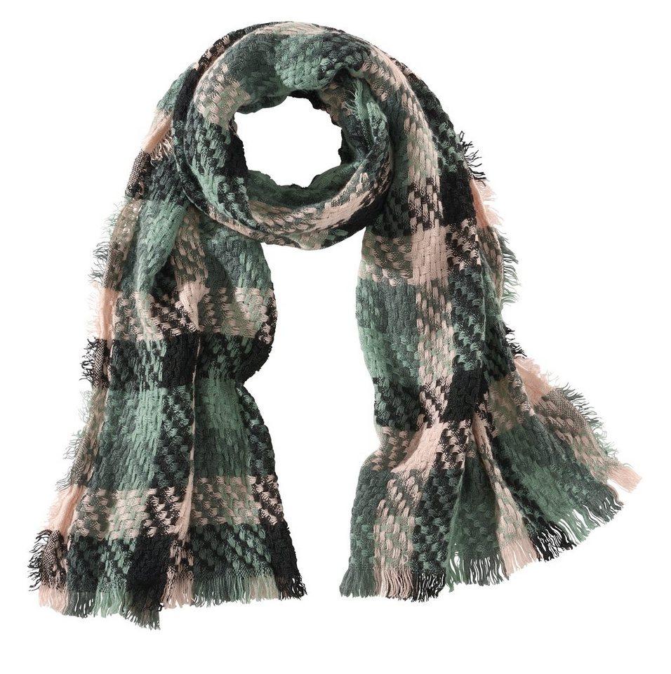 Schal in grün/rosé