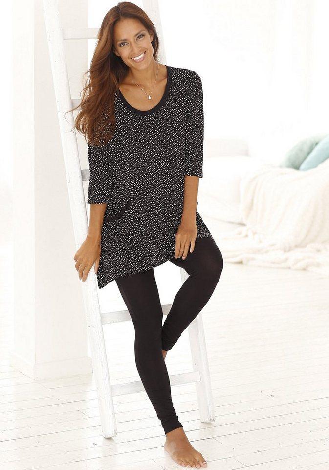 Vivance Dreams Pyjama mit Leggings & legerem Pünktchenshirt in schwarz gepunktet/schwarz
