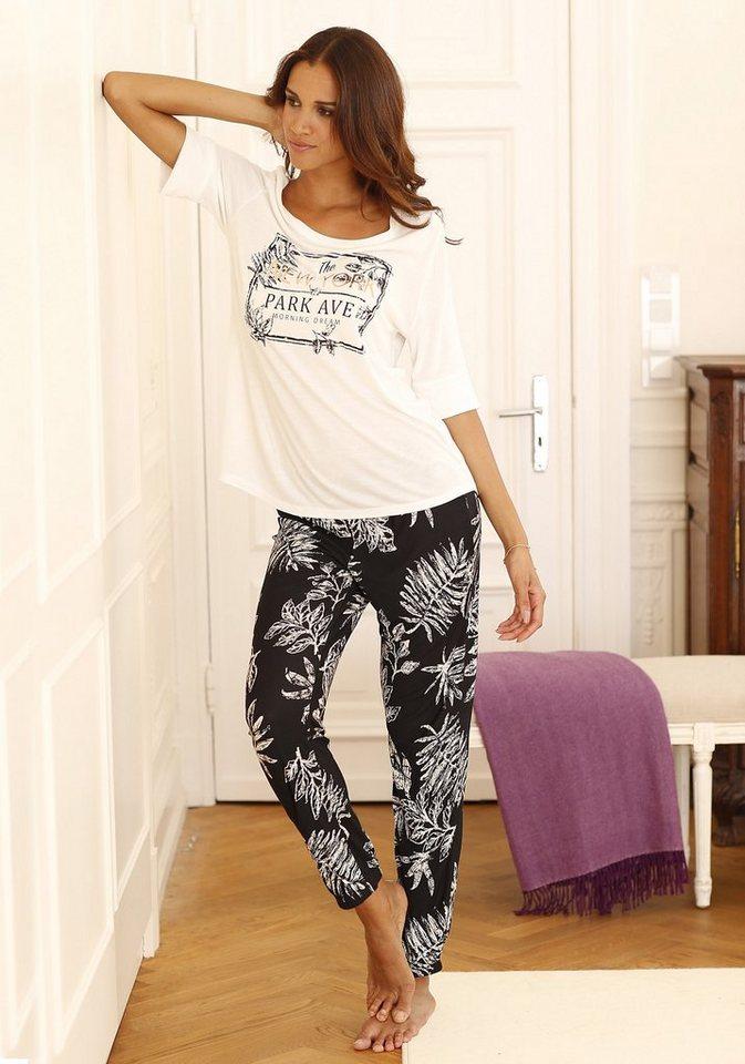 LASCANA Pyjama im modernen Schwarz-Weiß-Design in ecru/schwarz gemustert