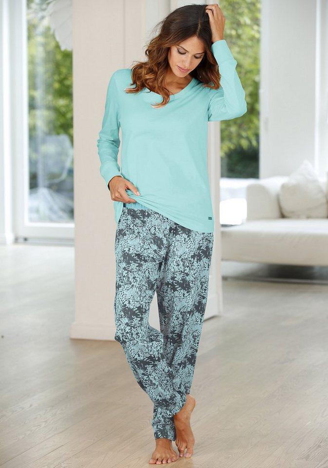 Buffalo Pyjama mit gemusterter Hose & passendem Langarmshirt in mint gemustert