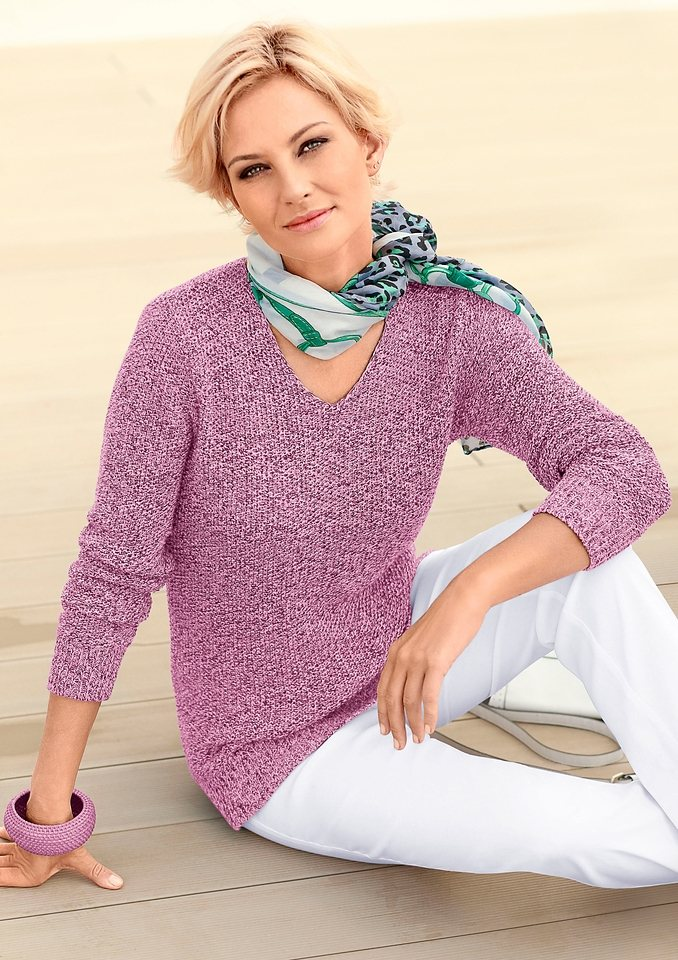 Collection L. Pullover in fuchsia-meliert