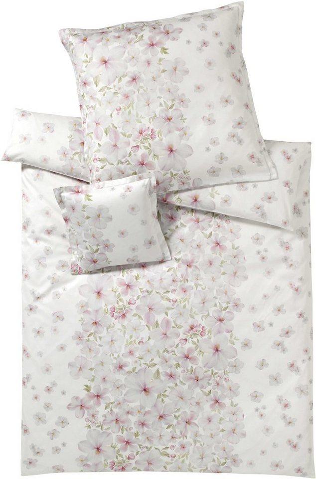Bettwäsche, Elegante, »Deauville«, mit hübschen Blüten in weiß