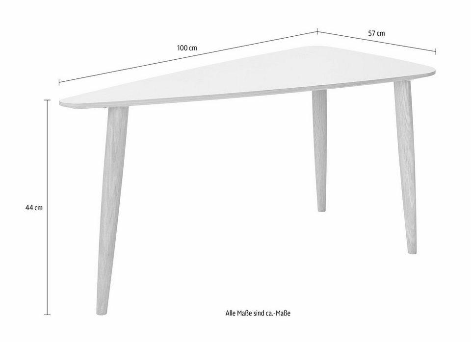 andas Couchtisch »Jib«, white oak massiv, mit segelförmiger Tischplatte, in zwei Höhen in white oak Furnier