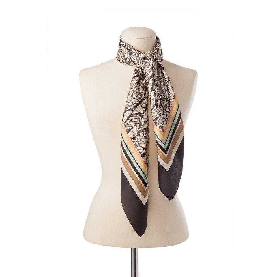 "CODELLO Seidentuch / Foulard ""Snake & Stripes"" in grau"