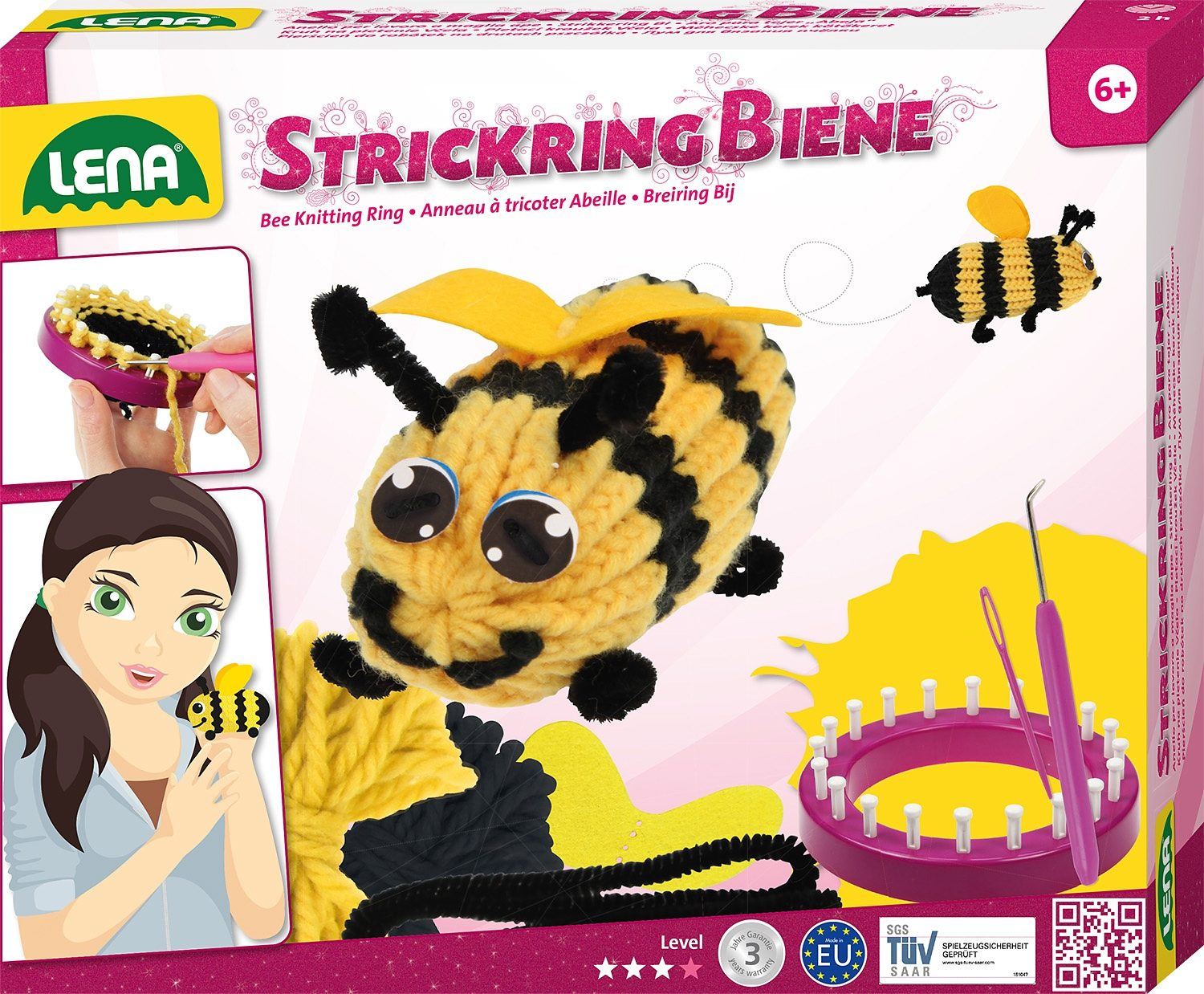 LENA® Strickset 9-tlg., »Strickring Biene«
