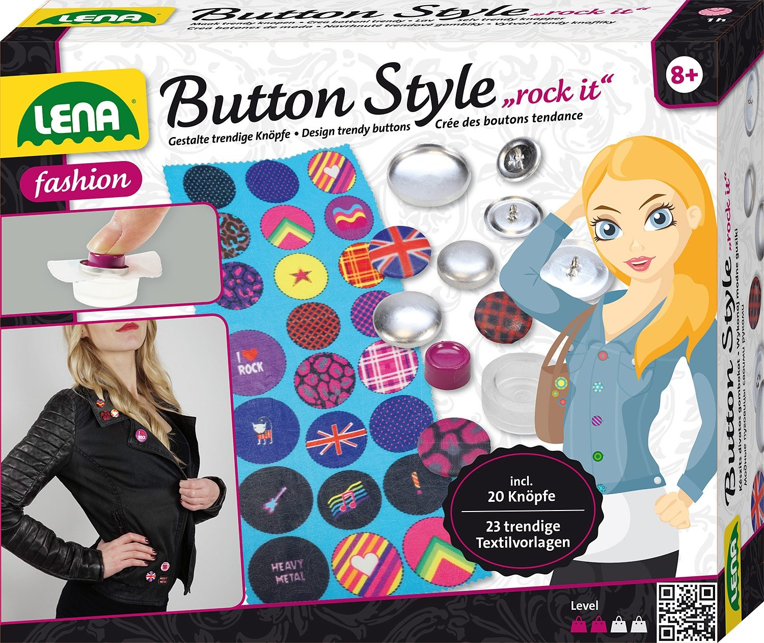 LENA® Bastelset, »Button Style rock it«