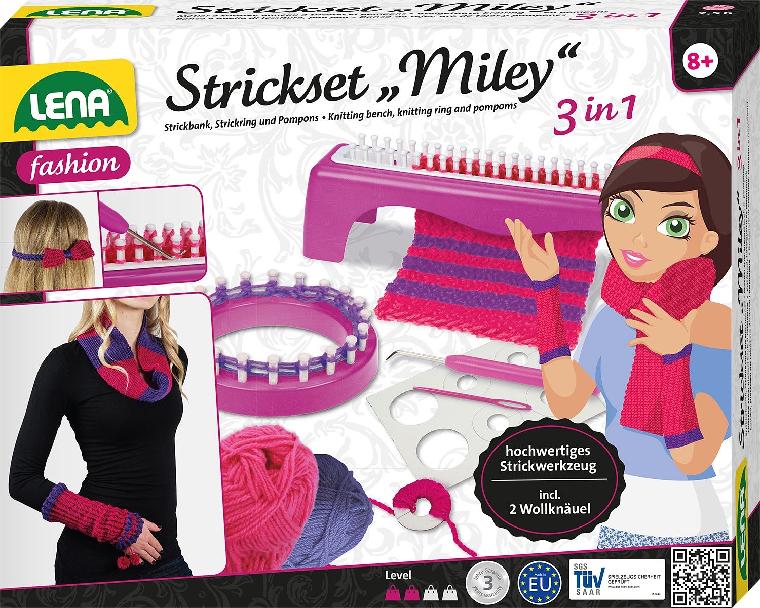 LENA® Kreativset 8-tlg., »Strickset Miley 3 in 1«