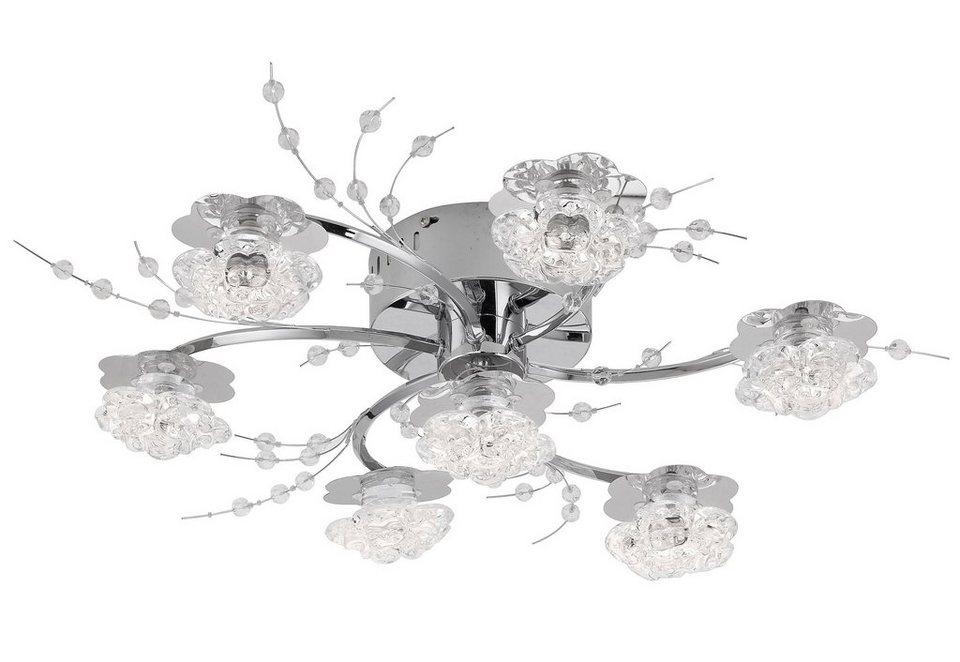 Leuchten Direkt LED-Deckenleuchte, »KARIMU« in Metall, chromfarben mit Kristallglas