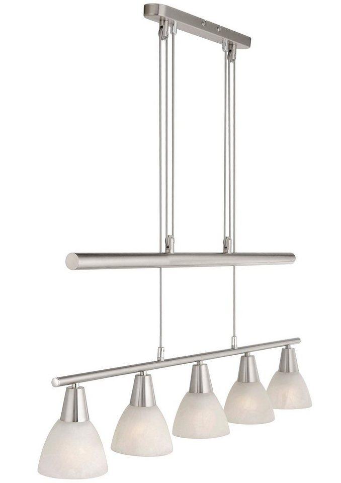 Leuchten Direkt Pendelleuchte, 5flg., »LOVAS« in Metall, chromfarben, Glas im alabaster Dekor