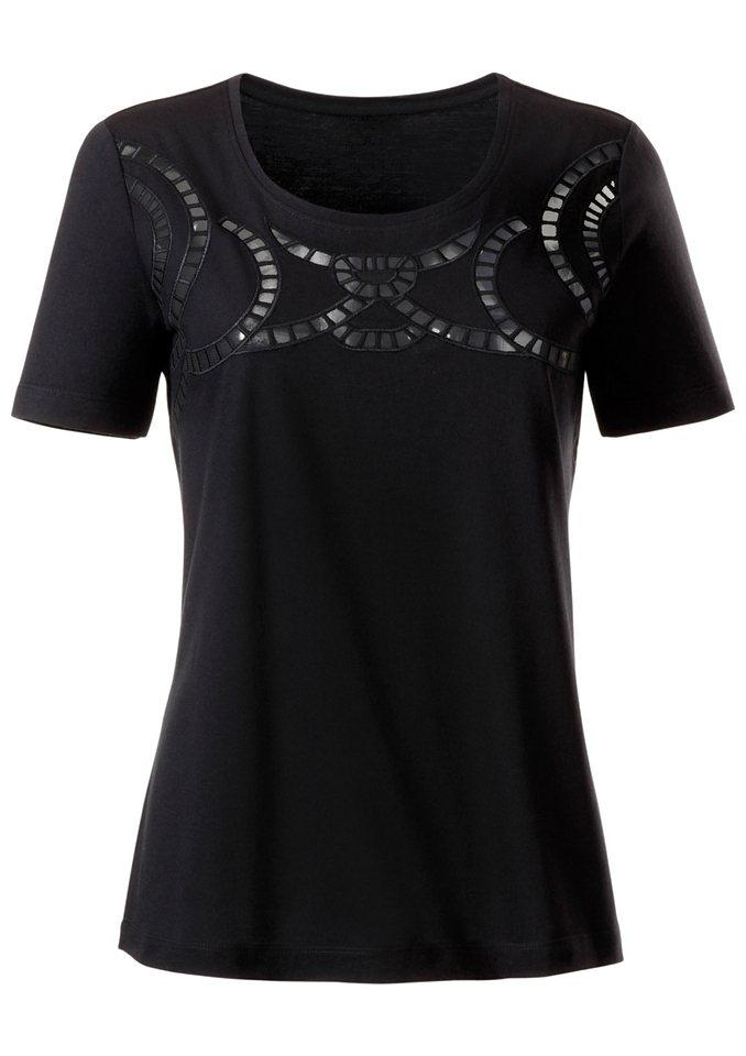 Ambria Shirt mit feinen, transparenten Netzbänder in schwarz