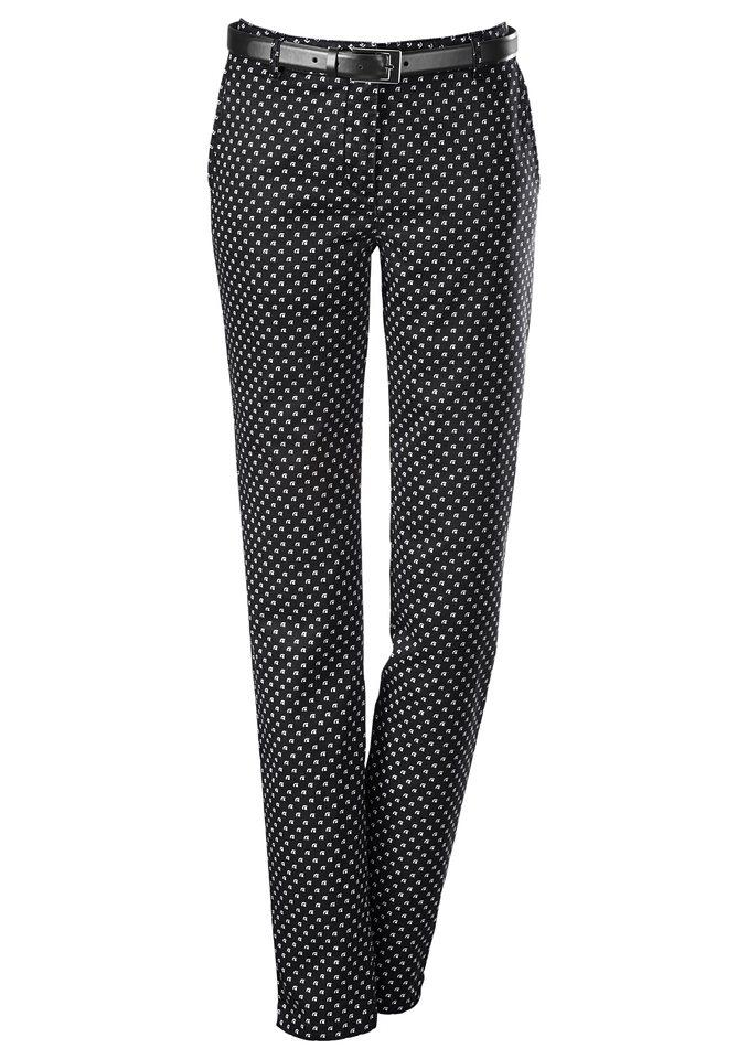 Création L Hose mit optisch streckenden Bügelfalten in schwarz-bedruckt