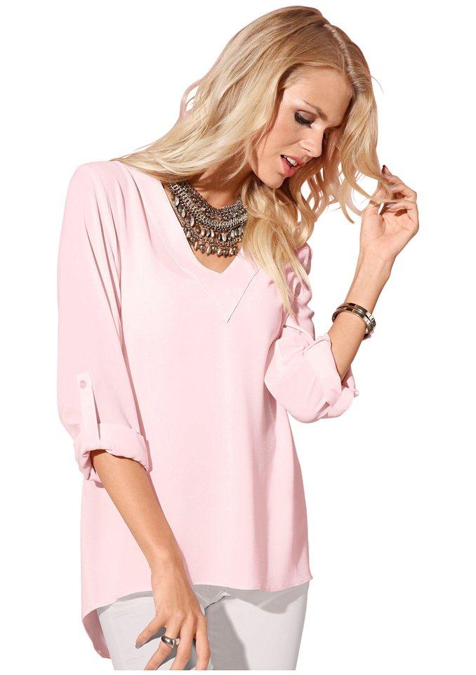 Création L Bluse mit Ärmel zum Krempeln und Knöpfen in rosé
