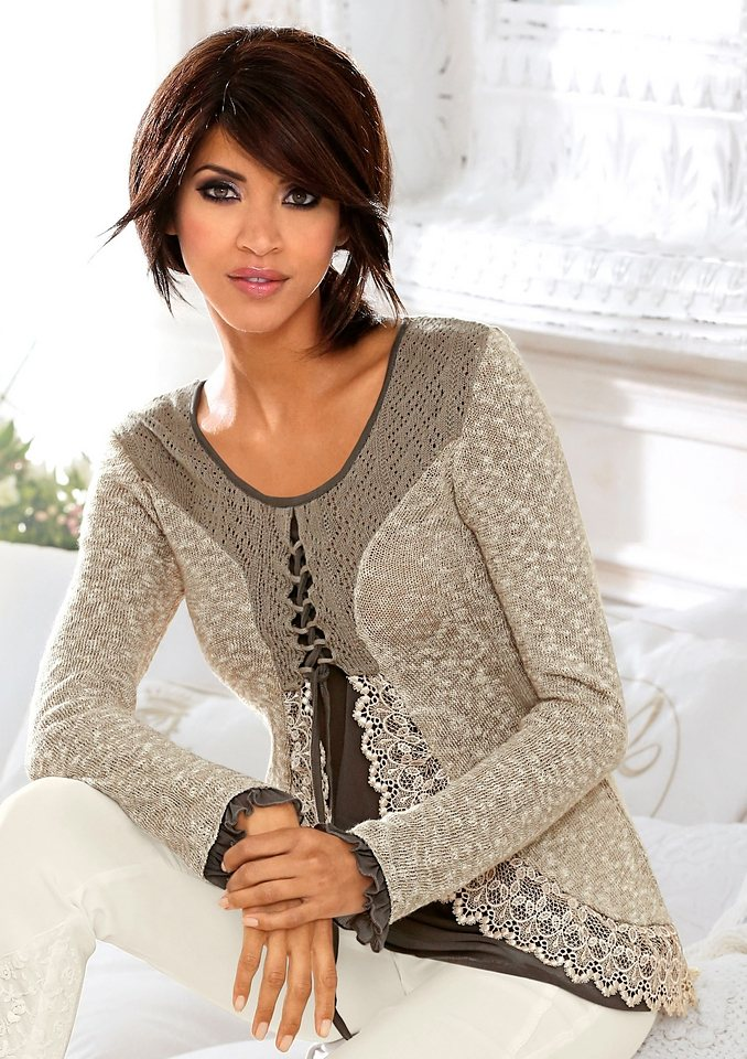 Lady Pullover mit Ajourmuster in taupe