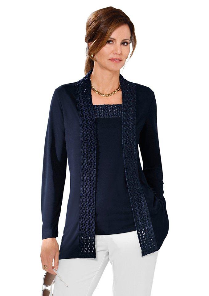 Lady Shirtjacke mit breitem Schalkragen aus Spitze in marine