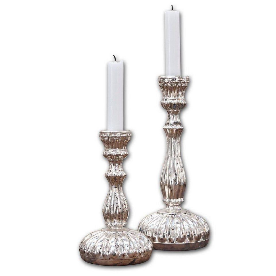 Loberon Kerzenständer 2er-Set »Isalie« in antiksilber