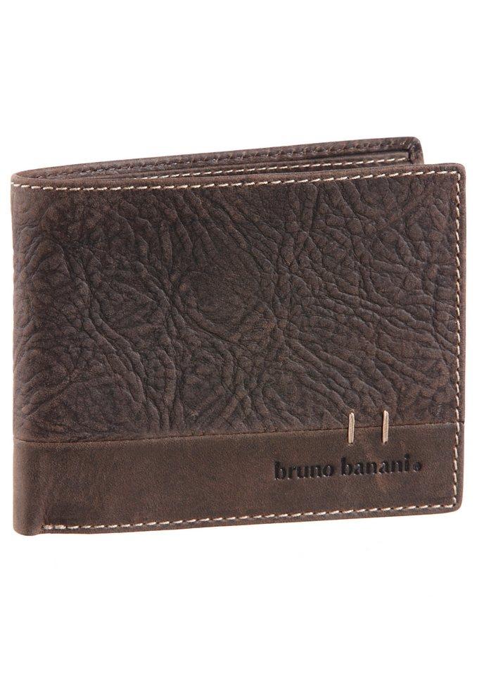 Bruno Banani Geldbörse aus Leder mit Ziernaht in braun