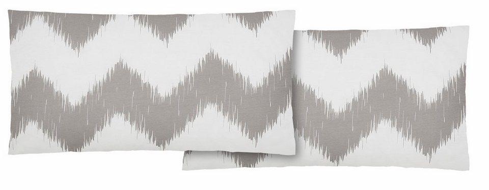 Kissenbezug, Home affaire Collection, »Toly«, mit Zick-Zack-Streifen in grau-weiß
