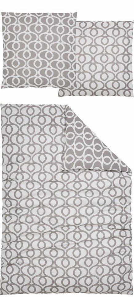 Bettwäsche, Home affaire Collection, »Jamon«, mit schnörkeligen Herzen in grau-weiß