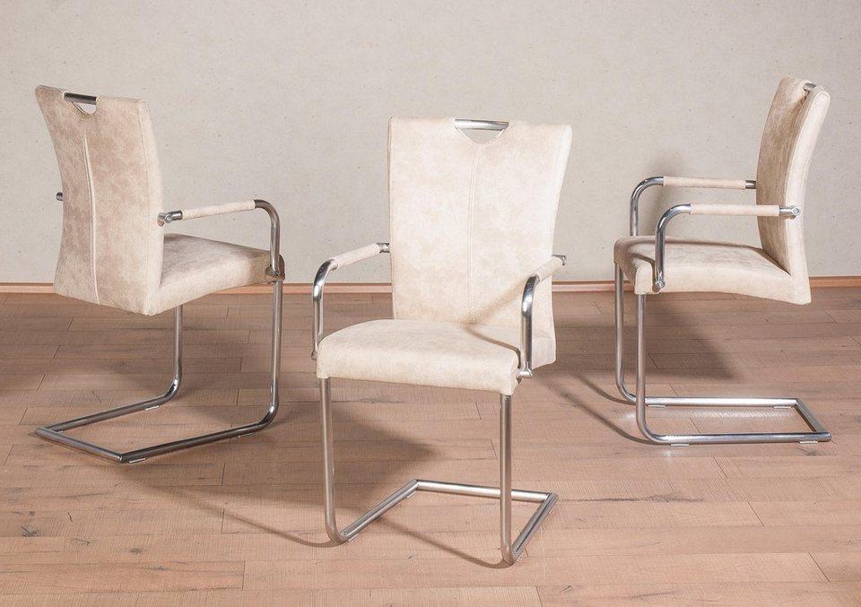 Premium collection by Home affaire Freischwinger mit Armlehnen »Heike« (2er, 4er oder 6er Set) in natur