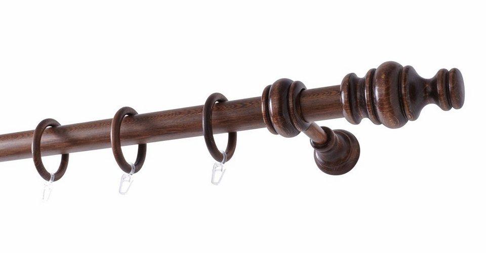 Gardinenstange »Komfort«, Knopf »Barock«, Garesa, nach Maß in nussbaum