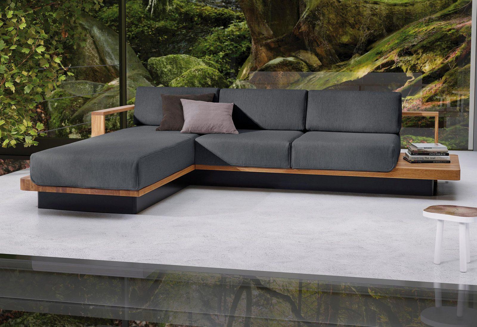 ADA premium Polsterecke »HUDSON«, mit eleganten Massivholz-Elementen