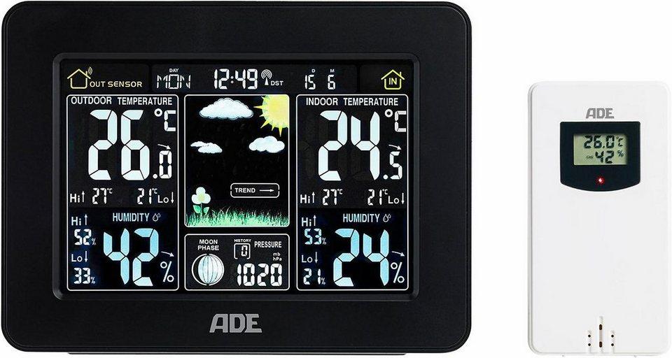 ADE Wetterstation mit Funk-Außensensor »WS1503« in schwarz
