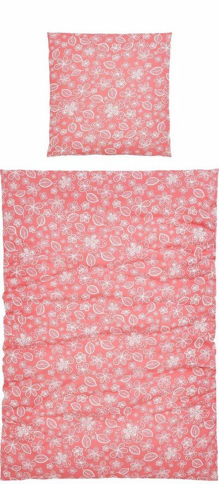 Bettwäsche, Home affaire Collection, »Korus«, mit kleinen Blumenmotiven in rot-weiß