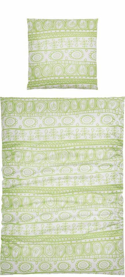 Bettwäsche, Home affaire Collection, »Garden«, mit abstrakten Blumen in grün-weiß