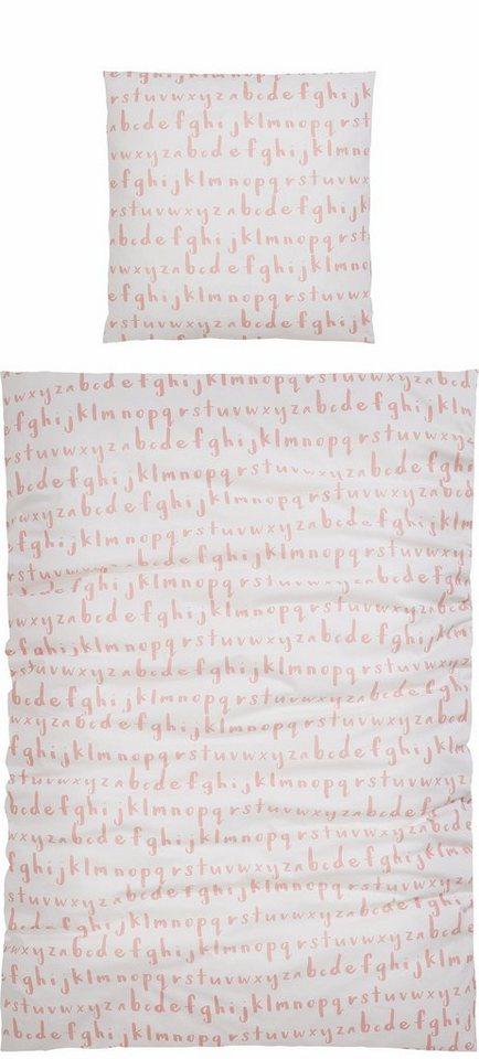 Bettwäsche, Home affaire Collection, »Elga«, mit Buchstaben in rosé