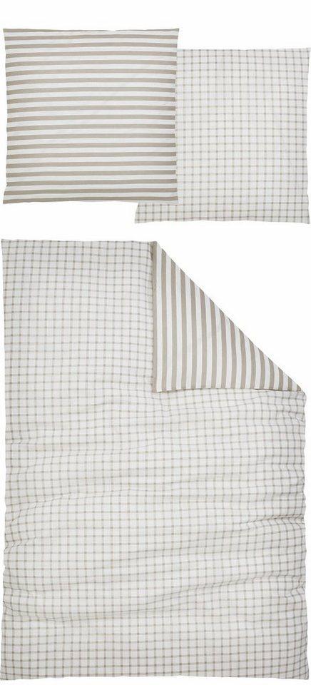 Wendebettwäsche, Home affaire Collection, »Brenda«, mit Karo und Streifen in grau