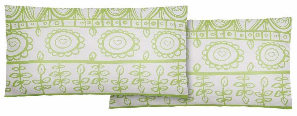 Kissenbezug, Home affaire Collection, »Garden«, mit abstrakten Blumen in grün-weiß