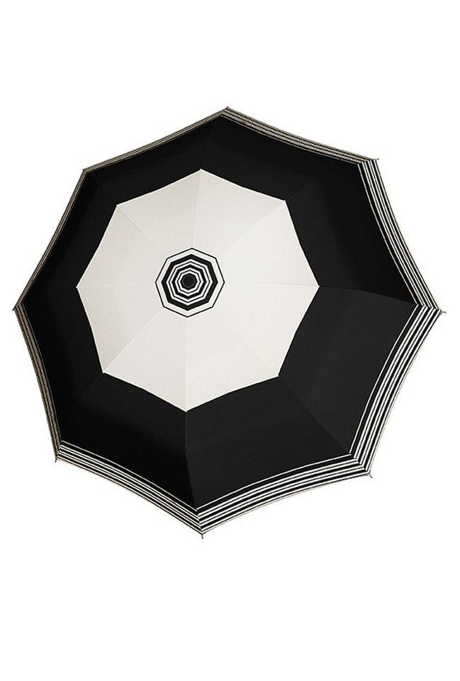 Doppler Regenschirm mit Streifen, Taschenschirm »Magic Carbonsteel - Imperial« in schwarz-ecru, Streifen