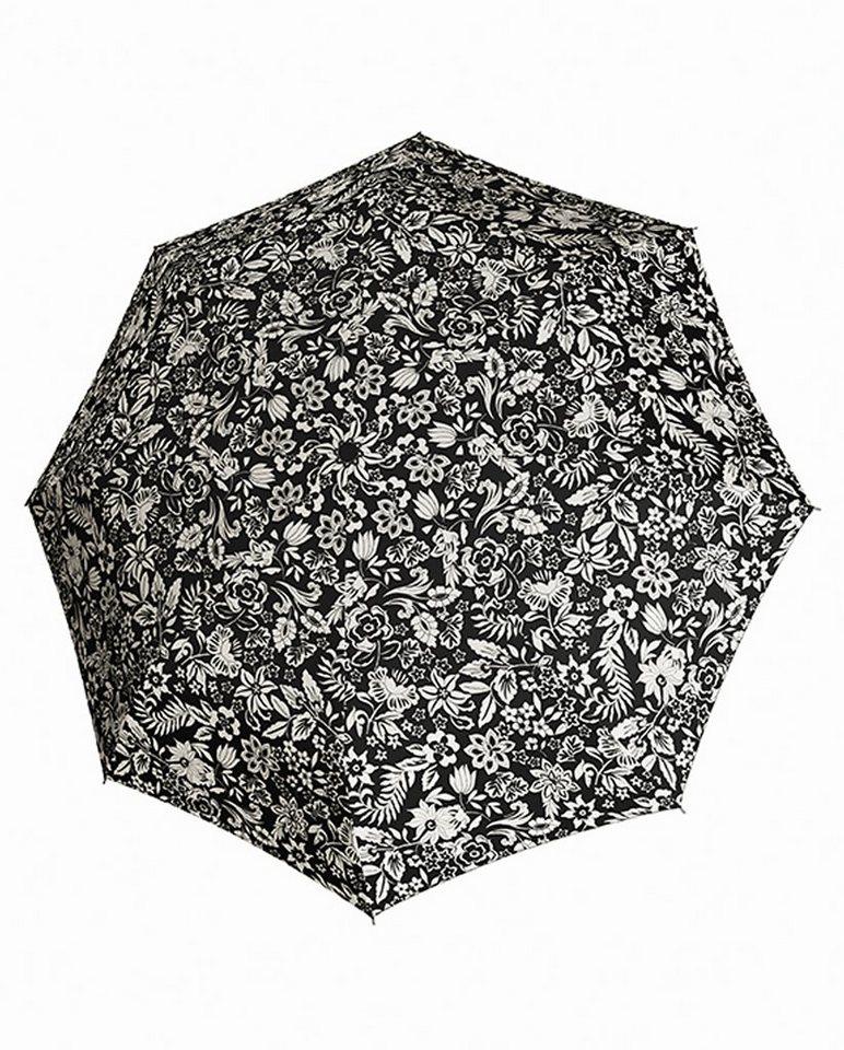 Doppler Regenschirm mit Blumenmuster, Taschenschirm »Magic Carbonsteel - Imperial« in schwarz-ecru, Blümchen