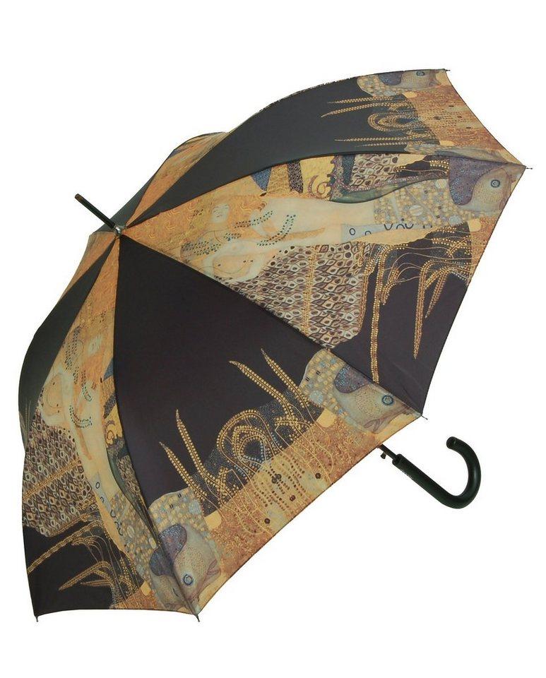 Doppler Regenschirm, »Langschirm Wasserschlangen« in schwarz/gold