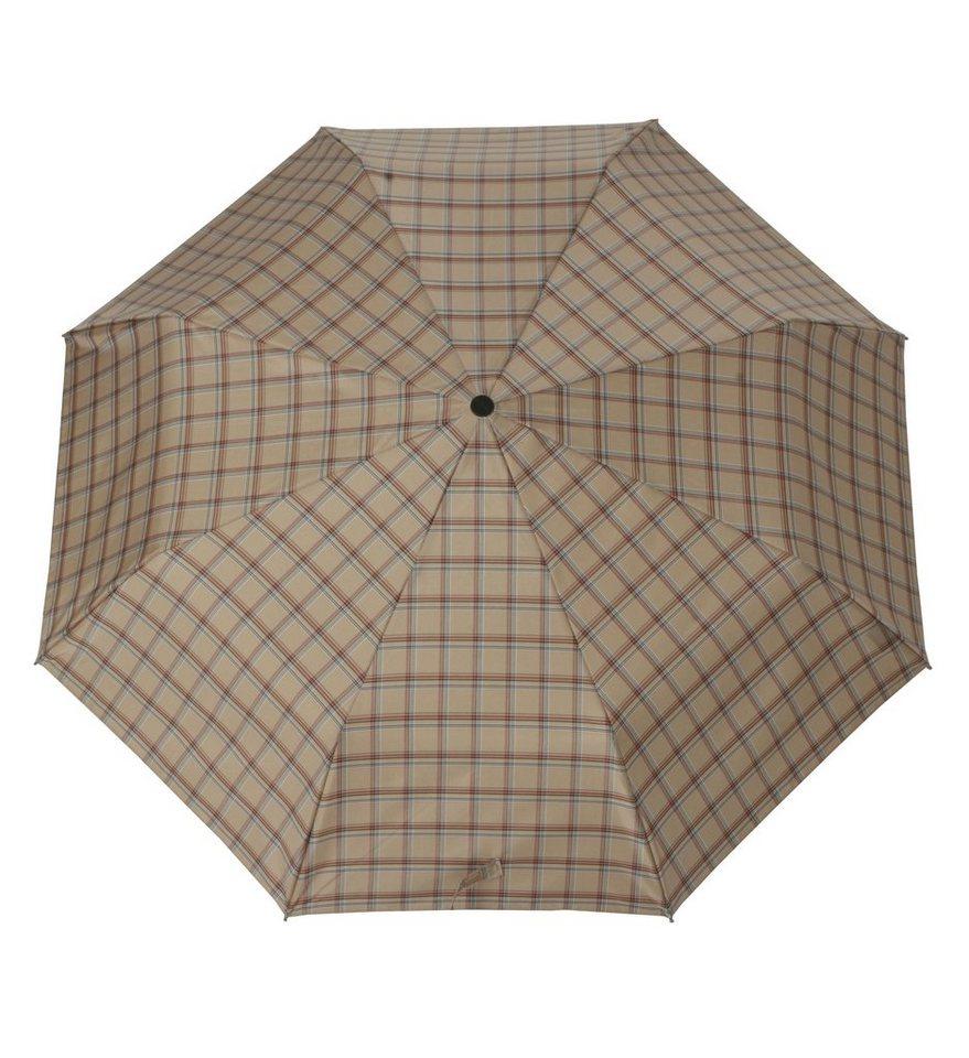 Doppler Regenschirm, Taschenschirm beige »Carbonsteel Karo« in beige