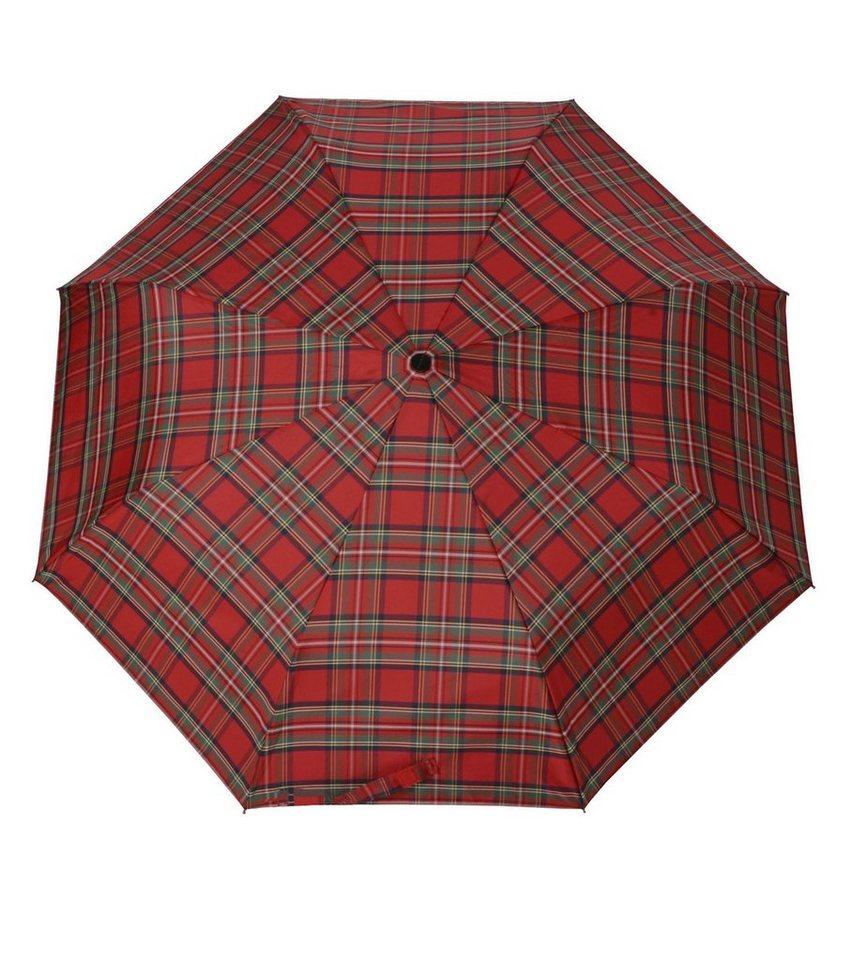 Doppler Regenschirm, Taschenschirm rot »Carbonsteel Karo« in rot