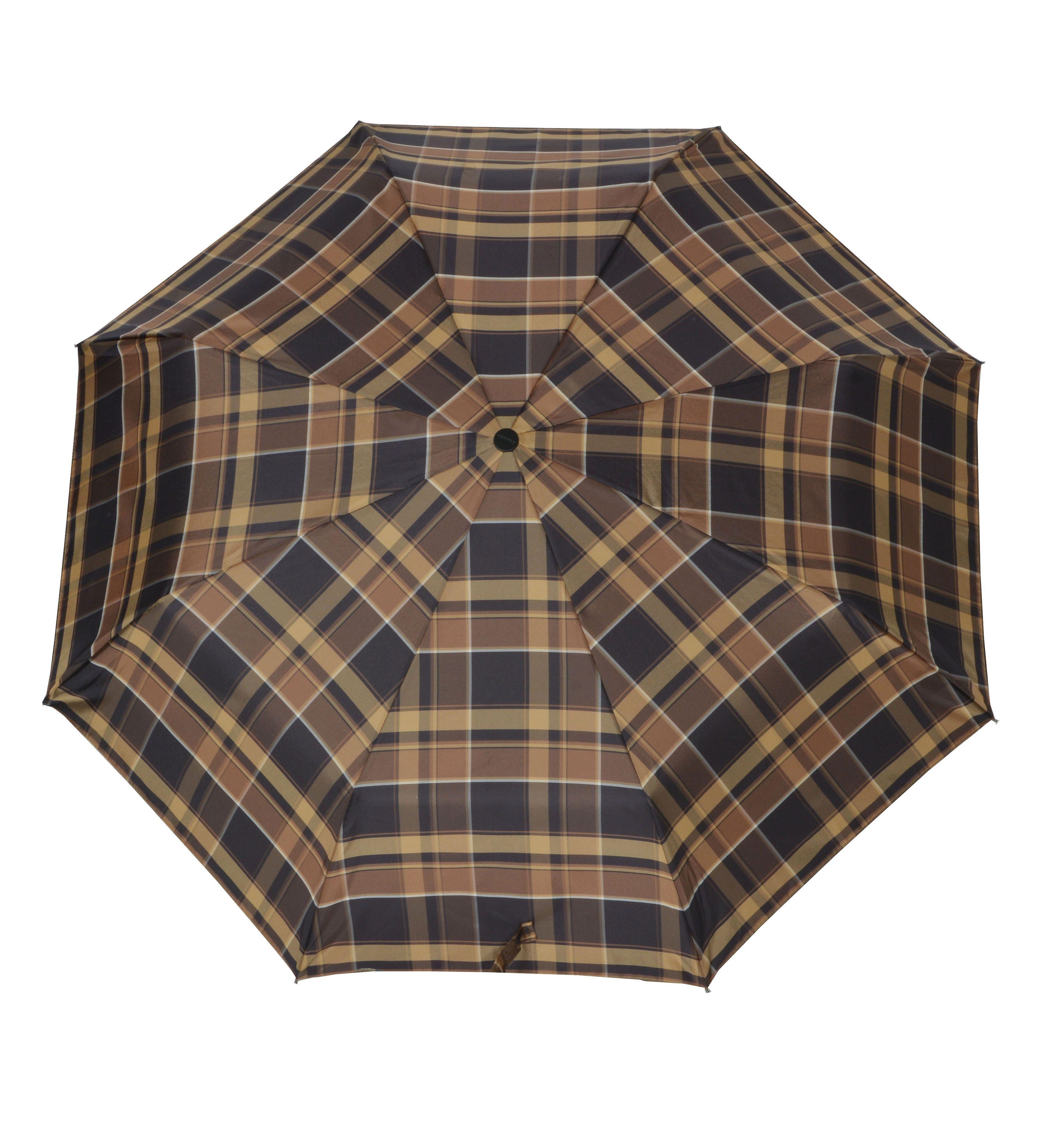 Doppler Regenschirm, Taschenschirm braun »Carbonsteel Karo«